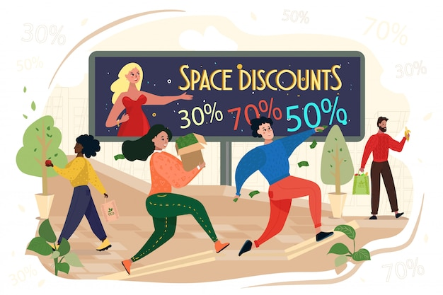 People run with bags in hands, space discounts