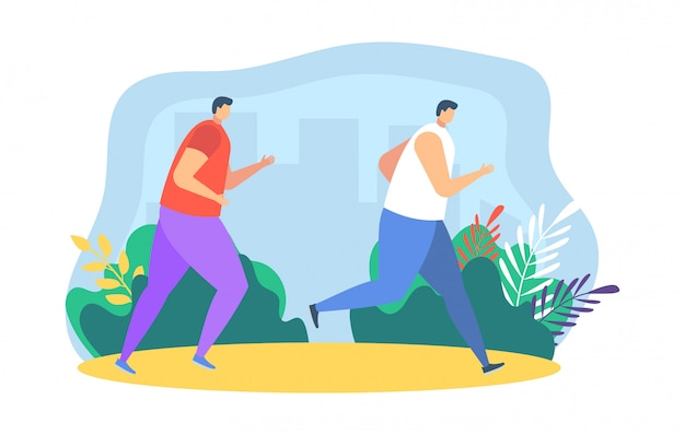 イラスト、漫画の父、母と娘をジョギングしている人のランナーが白のスポーツマラソンに参加します。