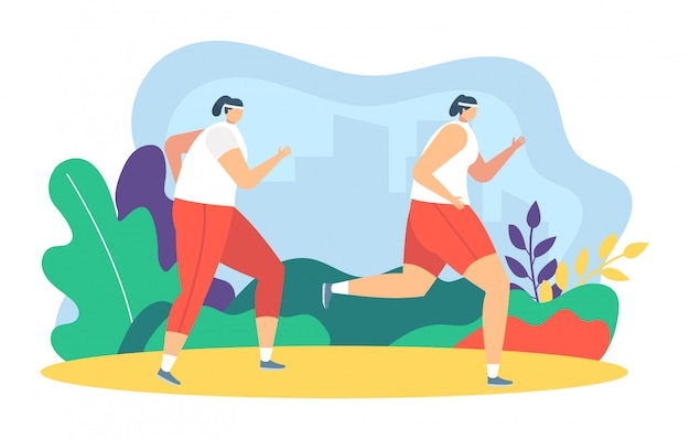People runners jogging  illustration, cartoon  father, mother and daughter take part in sport marathon  on white