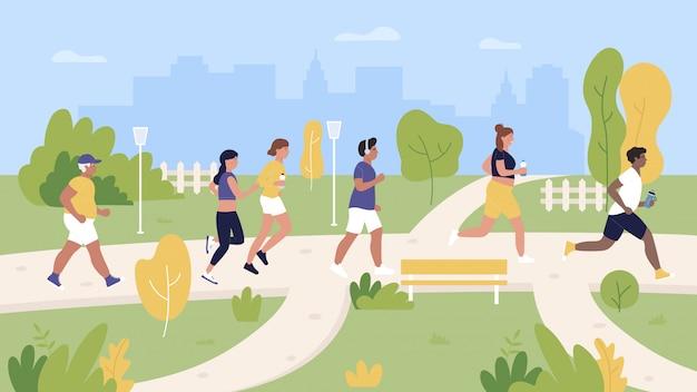 Люди бегунов, бег в городской парк иллюстрации. герои мультфильмов женщина-мужчина-бегун принимают участие в марафоне, тренировках и беге. городской пейзаж с фоном летних видов спорта на открытом воздухе