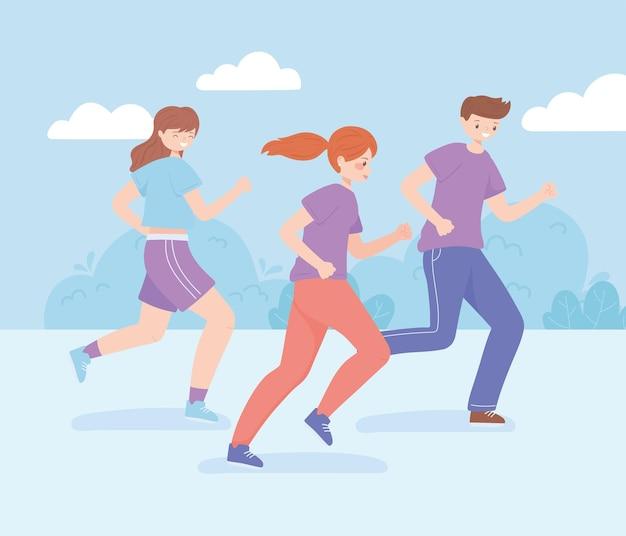 Люди, бегающие по активности