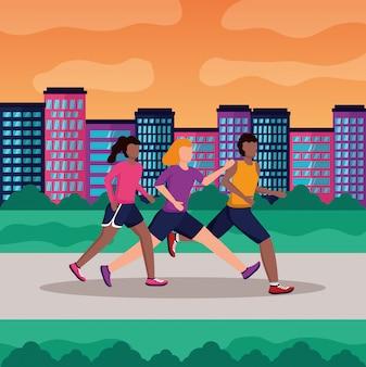 People running activity