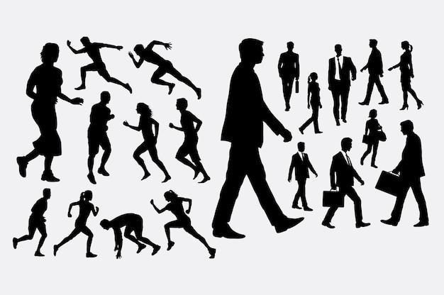달리기와 걷는 실루엣