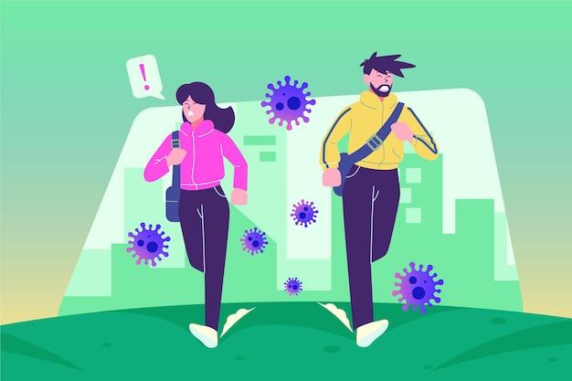 People running away from particles of coronavirus