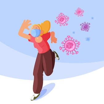 People running away from particles of coronavirus