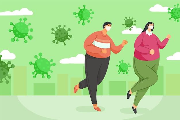 Люди убегают от частиц коронавируса