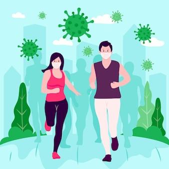 コロナウイルスの粒子から逃げる人々