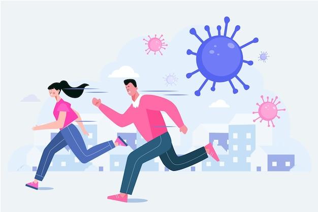 코로나 바이러스 입자에서 도망 치는 사람들