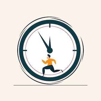 People running concept clock flat