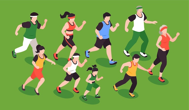 People running concept with fitness jogging symbols isometric illustration