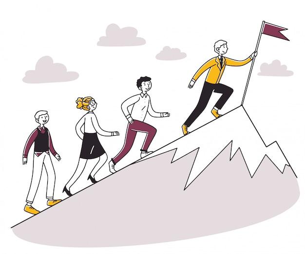 Люди бегут за лидером в гору