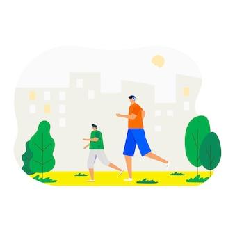 公園を走り、スポーツをしている人。