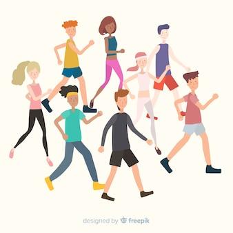 People running a marathon race