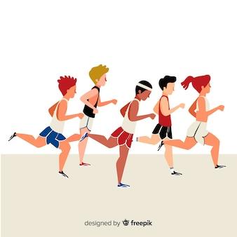 People running at a marathon