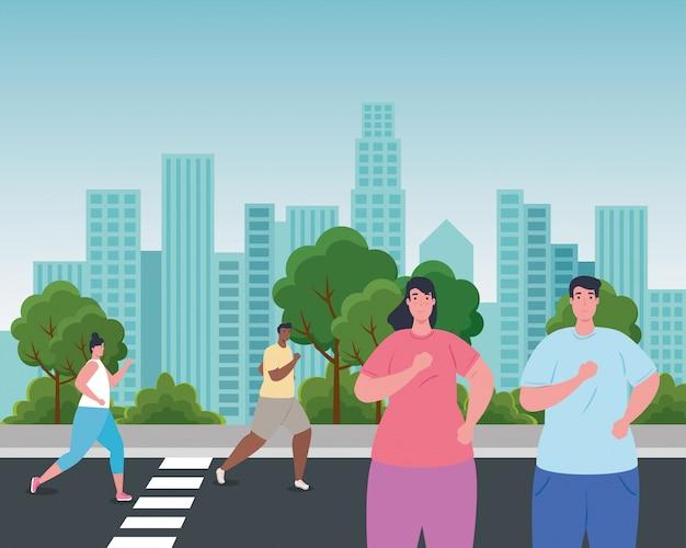 도시에서 달리는 사람들, 운동복 조깅하는 사람들, 거리에서 스포티 한 사람들