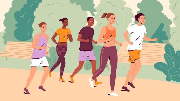 屋外で走っている人。ジョギングをしている若い男性と女性のグループ。