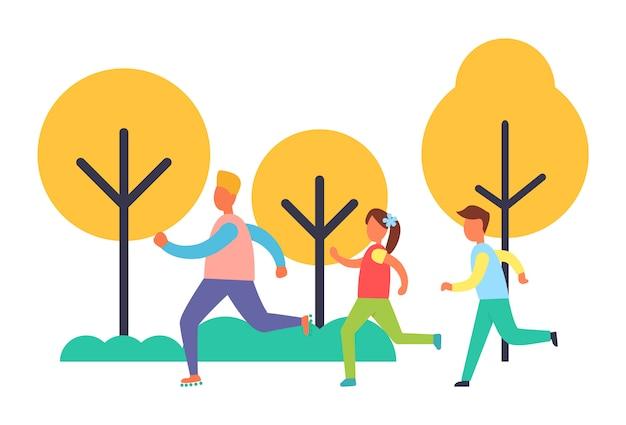 People running in park, cartoon illustration