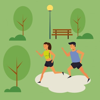People running in the park scenery cartoon