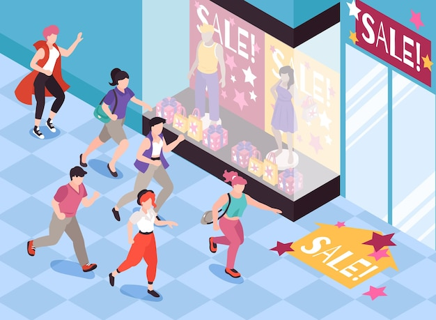 People running for sale background with special offer symbols isometric illustration