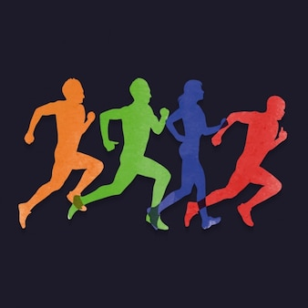 People running silhouettes background