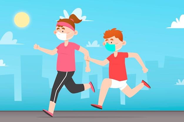 Persone che corrono insieme a maschere mediche