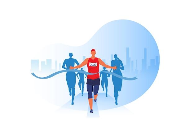 마라톤 경기, 육상 경기, 스포츠 그룹 조깅에서 옷을 입고 달리는 사람들