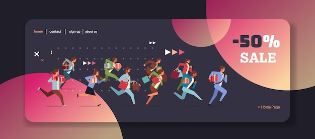 People running with gift boxes and shopping bags black friday big sale concept christmas new year holidays celebration full length horizontal vector illustration