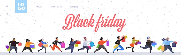 People running with shopping bags black friday big sale