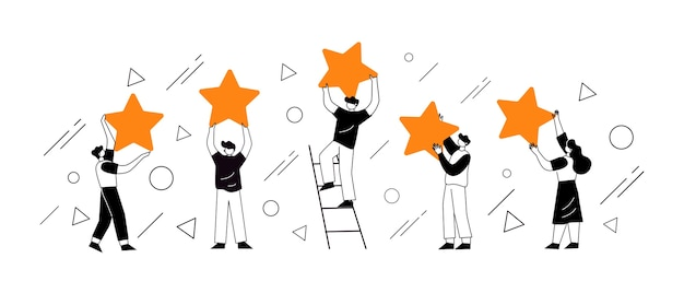 People's characters holding stars. customer reviews concept illustration concept