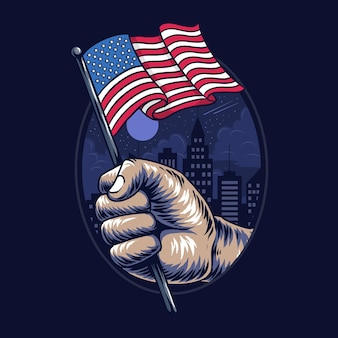 People's hands holding the united states flag in the middle of the city.