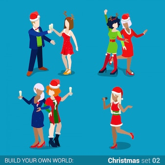 People in santa hats on christmas new year holiday party isometric vector illustration.