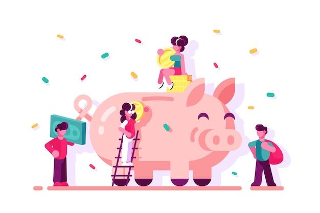 貯金箱のイラストでお金を節約する人々