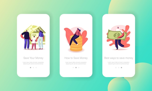 People saving money mobile app page onboard screen template
