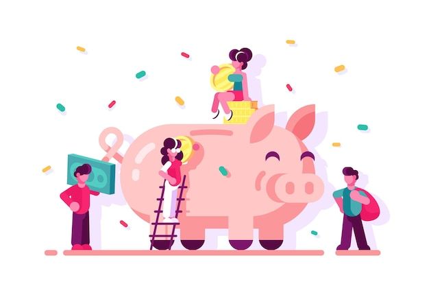 People saving money in piggy bank illustration