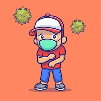 People scare corona virus  illustration. corona mascot cartoon character. people  concept isolated