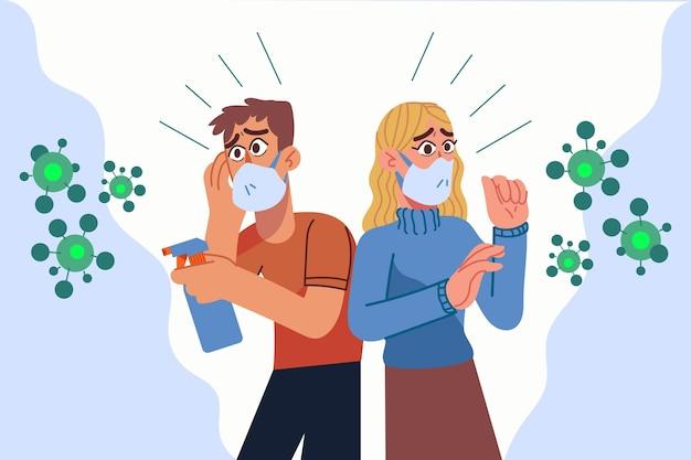 코로나 바이러스 질병을 두려워하는 사람들 무료 벡터