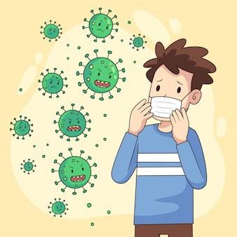 코로나 바이러스 질병을 두려워하는 사람들