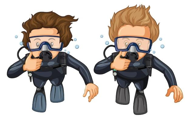水中でスキューバダイビングをする人