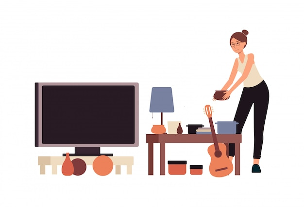 People at second hand shop or flea market flat banner vector illustration isolated.