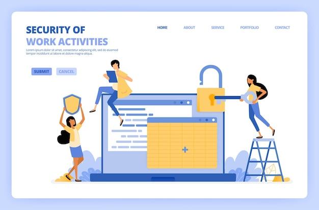 Люди защищают данные о вакансиях на иллюстрации в электронных таблицах