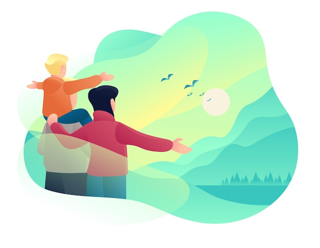 People see morning dawn in sky with bird illustration design