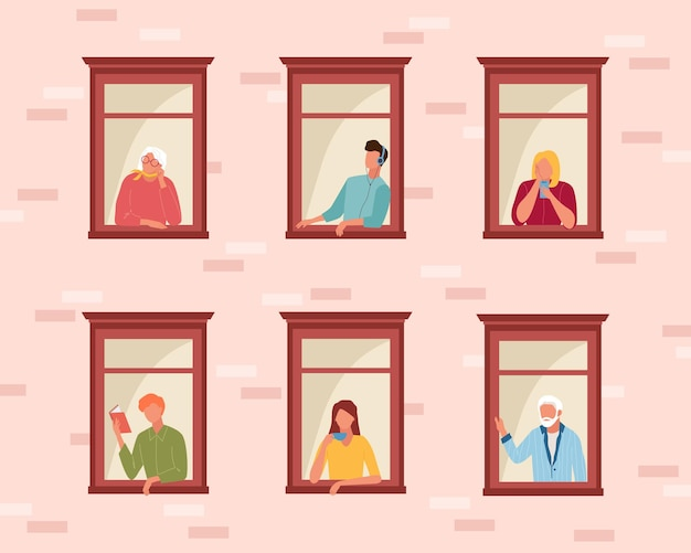 People self isolation stay home. life people in quarantine through open windows guy listens music reads book girl drinks coffee speaks phone, older people look outside.