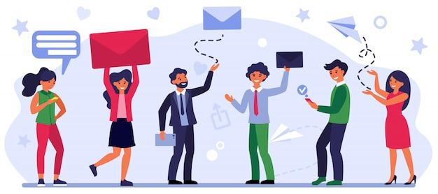 Люди, отправляющие и получающие сообщения