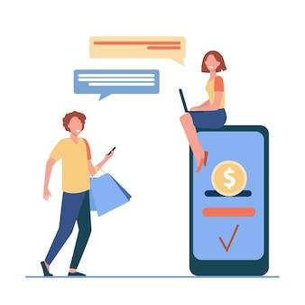 Люди, отправляющие и получающие деньги в интернете. мужчина и женщина, использующие гаджеты для транзакций плоской векторной иллюстрации. платежная система, мобильный банкинг