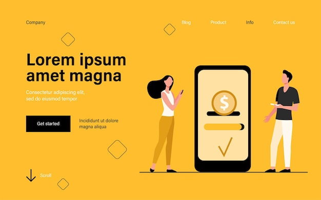 People sending and receiving money landing page in flat style