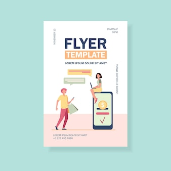 People sending and receiving money online flyer template