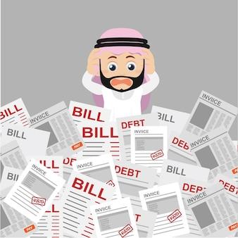 Люди устанавливают арабского бизнесмена, у него много работы