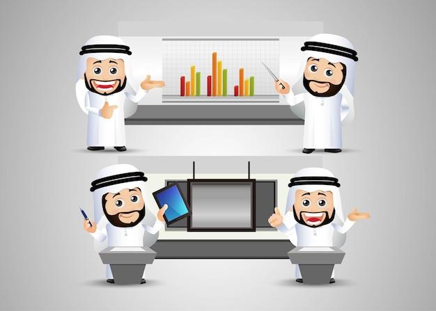 人々はチャートとボードでアラブのビジネスマンを設定します