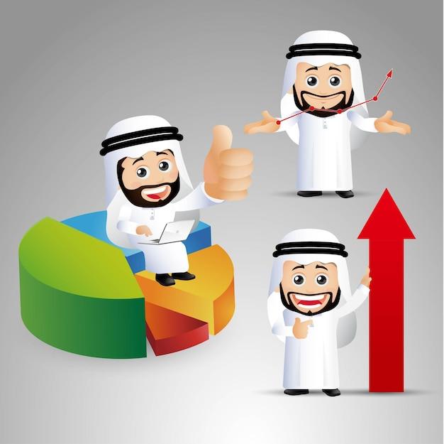 People set  arab businessmen work successfully