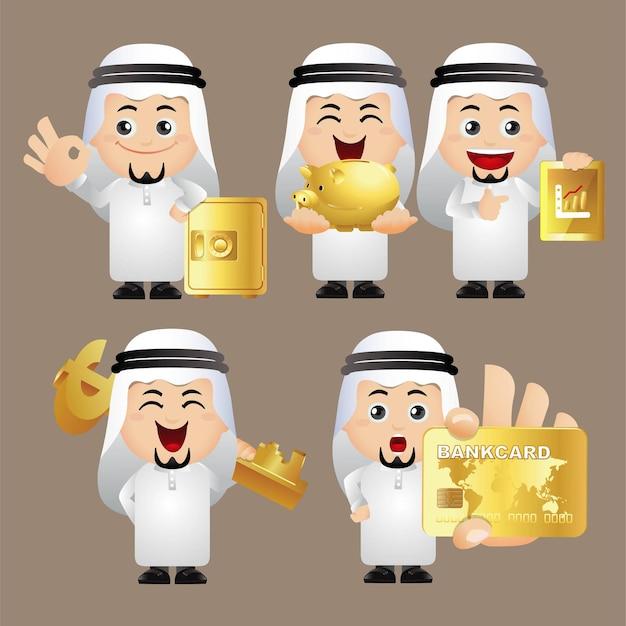 사람들 세트 아랍 사무실 남자 금융 세트